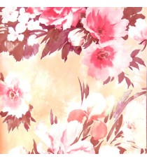Beautiful pink summer japanesse flowers with dark brown leaf floral design wallpaper
