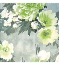 Beautiful green cream and grey color summer japanesse flowers with grey black leaf floral design wallpaper