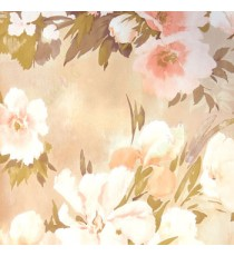 Beautiful pink brown cream summer japanesse flowers with green and purple brown leaf floral design wallpaper