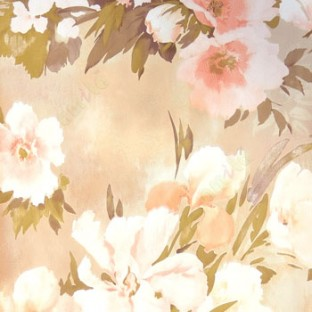 Beautiful Pink Brown Cream Summer Japanesse Flowers With Green And Purple Leaf Floral Design Wallpaper