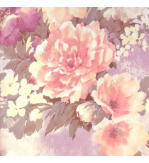 Beautiful dark pink purple cream summer japanesse flowers with grey black brown leaf floral design wallpaper