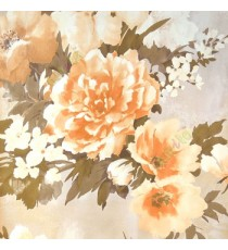 Beautiful orange brown cream summer japanesse flowers with brown green black leaf floral design wallpaper