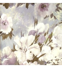 Beautiful purple cream black summer japanesse flowers with brown black leaf floral design wallpaper