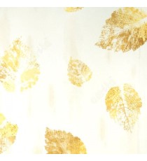 Big mustard brown yellow color single leaf pattern with brown cream textures background tiles sticked walls with old leaf wallpaper
