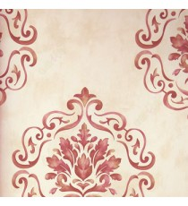 Traditional mix dark purple cream green big damask in cleared lines in fine texture brown white background wallpaper