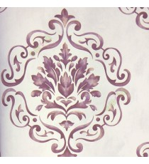 Traditional mix dark purple cream big damask in cleared lines in fine texture white background wallpaper