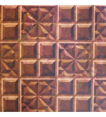 Dark brown maroon beige color traditional star square carved designs 3D look marvel texture checks pattern cut pieces of stone home décor wallpaper