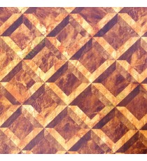 Brown gold color traditional star square carved designs 3D look marvel texture checks pattern cut pieces of stone home décor wallpaper