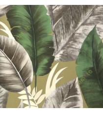 Green brown beige black color natural big banana leaf wild and large size leaf pattern texture finished leaf veins beautiful look home deceor wallpaper