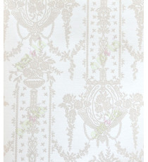Pure white gold color with sparkles color traditional hanging floral vase home décor wallpaper for walls