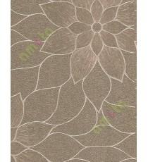 Gold brown texture big flower design home décor wallpaper for walls