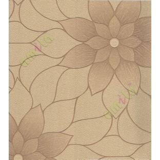 Yellow Brown Texture Big Flower Design Home Decor Wallpaper For Walls