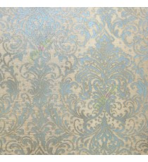 Blue brown color traditional big and busy damask pattern embossed carved finished wallpaper