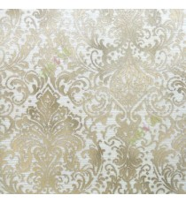 Brown beige color traditional big and busy damask pattern embossed carved finished wallpaper