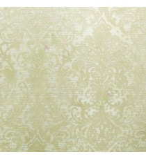 Beige gold color traditional big and busy damask pattern embossed carved finished wallpaper