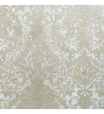 Beige grey color traditional big and busy damask pattern embossed carved finished wallpaper