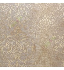 Brown and gold color traditional big and busy damask pattern embossed carved finished wallpaper