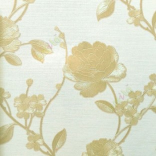 Gold Cream Color Beautiful Rose Flower With Long Supporting Stem Leaf And Small Daisy Pattern Wallpaper
