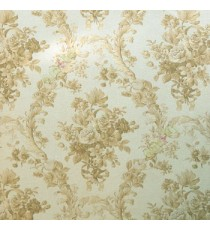Beige brown color natural rose flower damask pattern ogee looks with sunflower leaf buds texture background wallpaper
