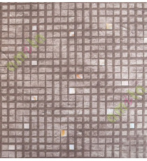 Chocolate brown with white yellow geometric squares stone cut piece finish home décor wallpaper for walls