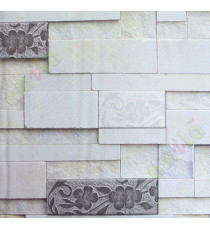 Black white brown yellow stone cut finish brick design with floral cropped home décor wallpaper for walls