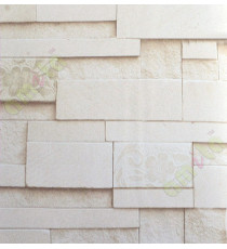 Brown white shiny stone cut finish brick design with floral cropped home décor wallpaper for walls