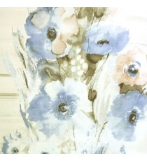 Blue black brown cream green color poppy flower pattern with long thin stem support looks like oil painting texture surface wallpaper