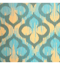 Aqua blue black peach color traditional digital design four leaf damask pattern wallpaper