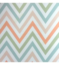 Abstract deisign in peach blue cream green color zigzag bold up and down lines wallpaper