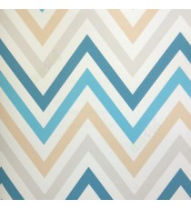 Abstract deisign in blue beige grey peach color zigzag bold up and down lines wallpaper