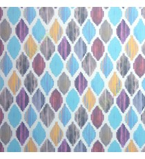 Blue brown yellow purple cream color digital ikat pattern Traditional look oil painting wallpaper