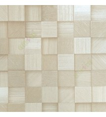 Beige brown color square wood puzzle slats natural finished wallpaper