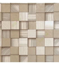 Brown beige gold color square wood puzzle slats natural finished wallpaper