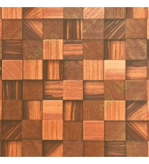 Dark brown gold maroon color square wood puzzle slats natural finished wallpaper