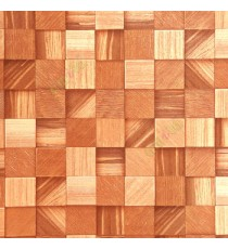 Brown gold color square wood puzzle slats natural finished wallpaper