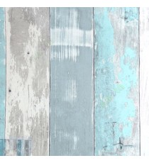 Aqua blue cream grey color vertical natural wood plank finished small texture lines wood layer discoloured plank wallpaper