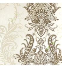White black brown color traditional big damask design swirls floral leaf pattern texture finished vertical short lines carved home décor wallpaper