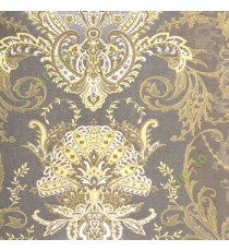 Blue gold cream color traditional big damask design swirls floral leaf pattern texture finished vertical short lines carved home décor wallpaper