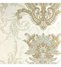 Brown cream silver color traditional big damask design swirls floral leaf pattern texture finished vertical short lines carved home décor wallpaper