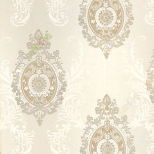 Cream Brown Silver Color Damask Traditional Self Design Swirls Floral Designs Texture Finished Wallpaper