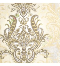Brown gold cream color traditional big damask design swirls floral leaf pattern texture finished vertical short lines carved home décor wallpaper