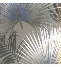 Black grey silver blue color natural big leaf and long leaf wild plant fan plam patterns texture finished wallpaper