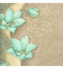 Blue brown gold black color traditional big flower vertical flowing swirls wave design elegant look texture finished wallpaper
