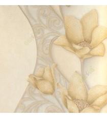 Gold beige brown color traditional big flower vertical flowing swirls wave design elegant look texture finished wallpaper