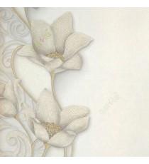 Cream gold grey color traditional big flower vertical flowing swirls wave design elegant look texture finished wallpaper