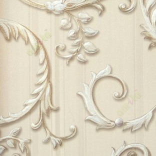 Beige brown silver color traditional big swirls and vertical texture stripes wallpaper