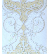 Yellow white silver brown colour contemporary damask design home décor wallpaper for walls