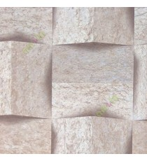 Brown copper beige 3D obtuse pyramid pattern with rough texture vertical and horizontal stone cladding design wallpaper