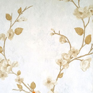 Light brown color background with golden and beige color beautiful natural  flower designs leaf long and strong twigs texture finished surface swirls