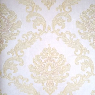White color background texture finished with golden cream color beautiful  traditional big damask designs embossed pattern swirls pattern wallpaper
